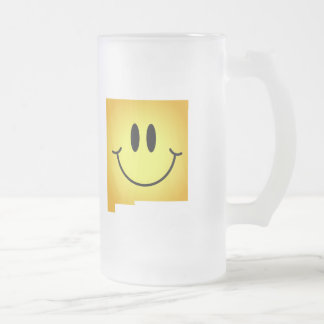 New Mexico Smiley Face Frosted Glass Mug