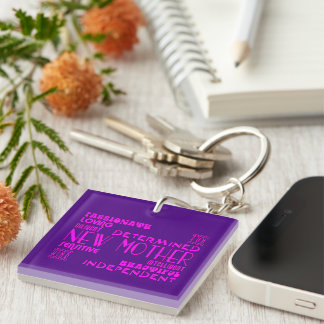 New Mothers & New Moms Baby Showers : Qualities Single-Sided Square Acrylic Key Ring