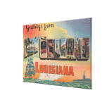 New Orleans, Louisiana - Large Letter Scenes Gallery Wrapped Canvas