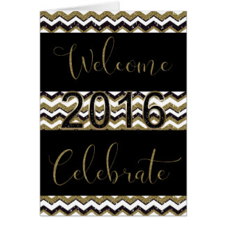 New Year - Black and Gold Chevron Greeting Card