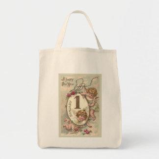 New Year Cherubs Grocery Tote Bag