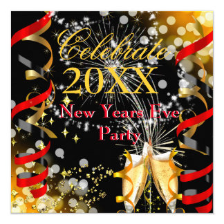 New Years Eve Party Champagne Festive Red Gold 13 Cm X 13 Cm Square Invitation Card