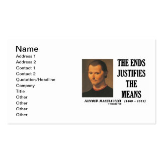 Niccolo Machiavelli The Ends Justifies The Means Pack Of Standard Business Cards