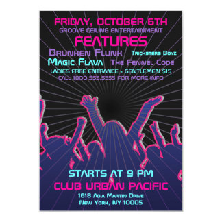 Nightclub Dance Rave Template 13 Cm X 18 Cm Invitation Card