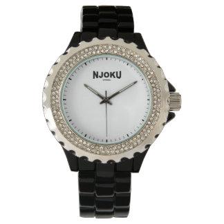 Njoku A. Women's 'Black Rhinstone' Wrist Watch. Watch
