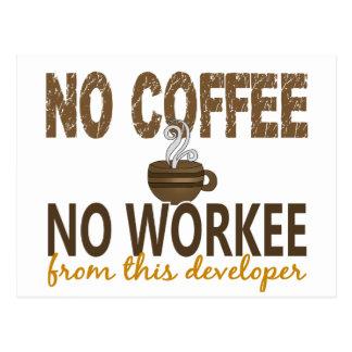 No Coffee No Workee Developer Postcard
