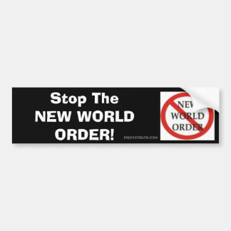 No NWO Logo, Stop The NEW WORLD ORDER Bumper Sticker