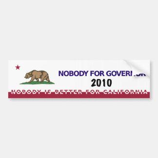 Nobody for California Governor 2010 Bumper Sticker