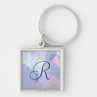 Northern Lights II Silver-Colored Square Key Ring
