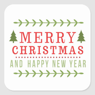 Nostalgic Merry Christmas and Happy New Year Square Sticker