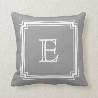 Notched Corner Frame Gray Background Monogram Cushions