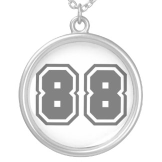 Number 88 round pendant necklace