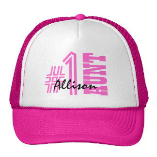 Number One AUNT Custom Name Gift Collection Pink Cap