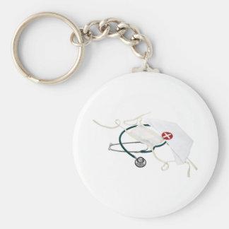 NurseHatMask082309 Basic Round Button Key Ring
