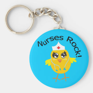 Nurses Rock Basic Round Button Key Ring
