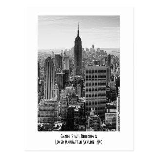NY City Skyline Empire State Building, WTC BW Postcard