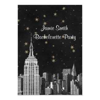 NYC ESB Skyline Etched Black Starry Bachelorette V 13 Cm X 18 Cm Invitation Card
