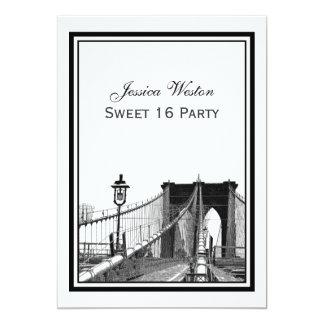 NYC Skyline Brooklyn Bridge #2 Sweet 16 Party 13 Cm X 18 Cm Invitation Card