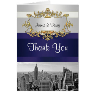 NYC Skyline BW 05 White Navy Blue Thank You Note Card