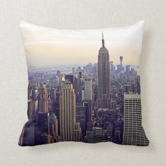 NYC skyline Empire State Building, WTC 4 Throw Cushions
