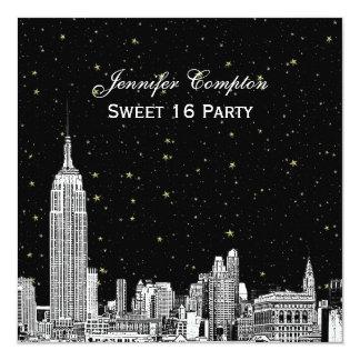 NYC Skyline Etched Starry DIY BG Color SQ Sweet 16 13 Cm X 13 Cm Square Invitation Card