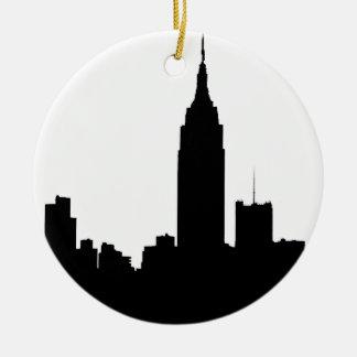 NYC Skyline Silhouette, Empire State Bldg #1 Round Ceramic Decoration