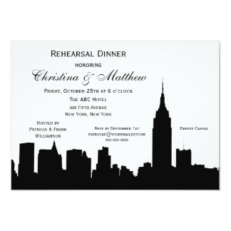 NYC Skyline Silhouette Rehearsal Dinner 13 Cm X 18 Cm Invitation Card