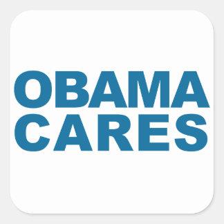 Obama Cares Square Sticker