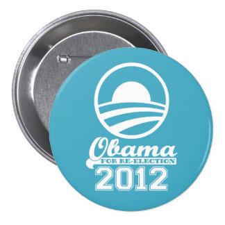 OBAMA For Re-Election Campaign Button 2012 (aqua)