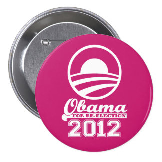 OBAMA For Re-Election Campaign Button 2012 (pink)