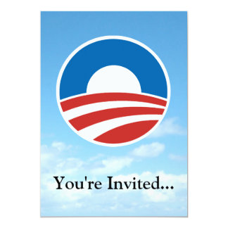 Obama-O Logo with Blue 13 Cm X 18 Cm Invitation Card