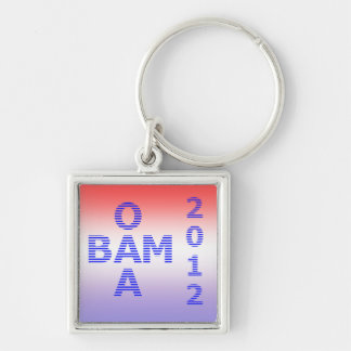 OBAMA Stripes 2012 Silver-Colored Square Key Ring