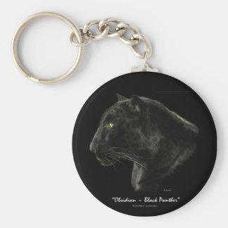 """OBSIDIAN, BLACK PANTHER"" Key-chain Basic Round Button Key Ring"