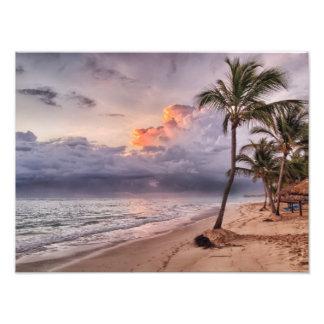 Ocean Waves Sandy Beach Sunset Photographic Print