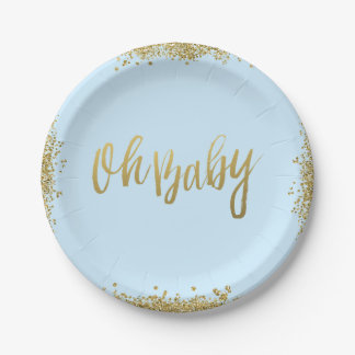 Oh Baby Blue Faux Gold Glitter Baby Shower 7 Inch Paper Plate
