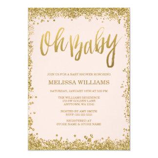 Oh Baby Blush Pink Gold Glitter Baby Shower 13 Cm X 18 Cm Invitation Card