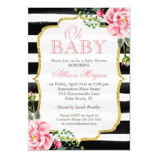 Oh Baby Shower Floral Gold Black White Stripes 13 Cm X 18 Cm Invitation Card