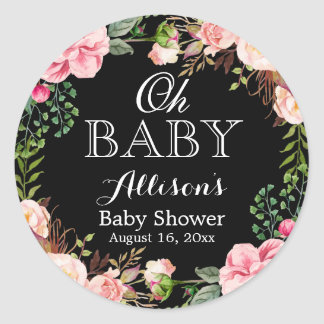 Oh Baby Shower Modern Romantic Floral Decor Round Sticker