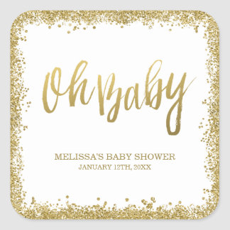 Oh Baby White Gold Faux Glitter Baby Shower Square Sticker