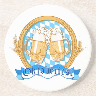 Oktoberfest Label Design With Beer Glasses Beverage Coasters