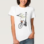 Old bicycle with lamp, flower basket, birds, tree tshirts