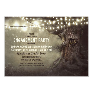 old oak tree twinkle lights engagement party 13 cm x 18 cm invitation card