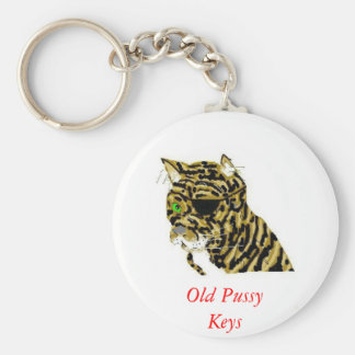 Old Pussy  Cat Basic Round Button Key Ring