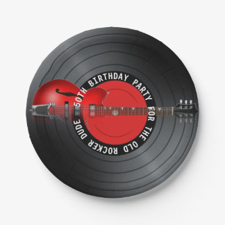 Old Rocker Dude Guitar Record 50th Birthday Party 7 Inch Paper Plate
