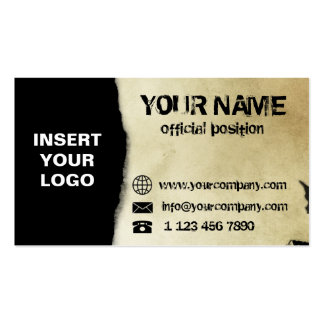 Old torn paper business card