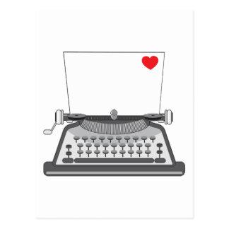 Old Typewriter Heart Postcard