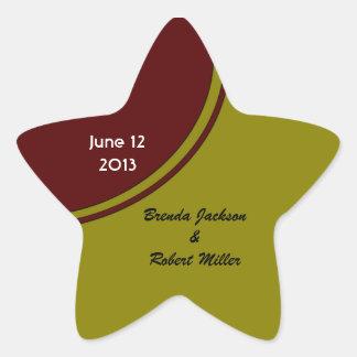 Olive Green and Brown Modern Wedding Star Sticker
