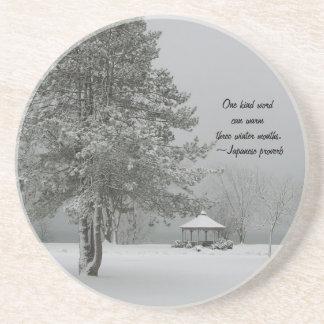 One Kind Word-Winter Landscape Beverage Coaster