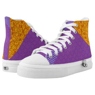 Orange and Purple Clash Hi Top Printed Shoes
