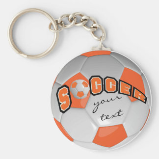 Orange and White Personalize Soccer Ball Basic Round Button Key Ring
